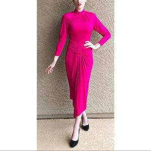 VINTAGE NADINE Hot Pink Draped Jersey Midi Dress
